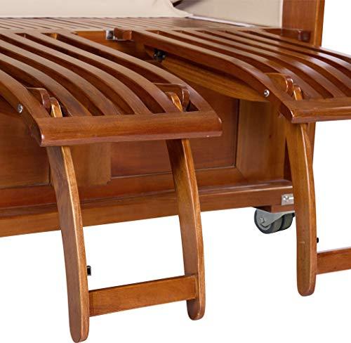 Luxus Mahagoni XXL Strandkorb Volllieger für 2 Personen aus Hartholz Grau-Weiß Gestreift - Aufgebaut und Einsatzbereit Strandkorbwelt365 - 3