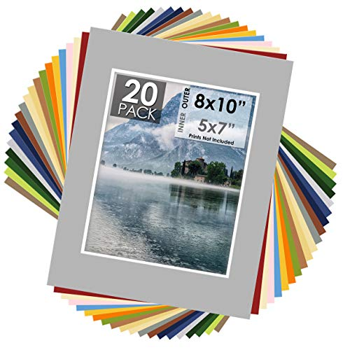 Mat Board Center, Pack of 20 11x14 Mixed Colors White Core Picture Mats for 8x10 Photos