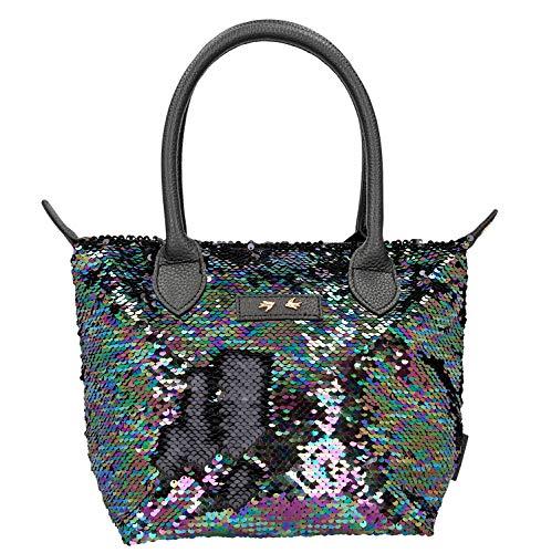 Depesche 10212 - Handtasche mit Pailletten Trend Love, schwarz