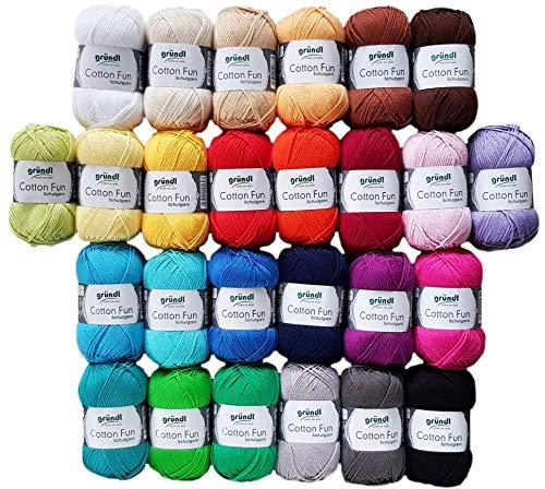 10x50 Gramm Gründl Cotton Fun Häkelgarn Strickgarn inkl. Anleitung für EIN Meerschweinchen Bunt Mix Farbauswahl leider nicht möglich