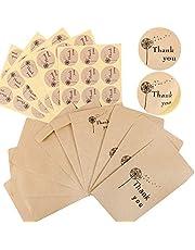 50 szt. małe brązowe koperty z papieru kraftowego, vintage mini koperty prezentowe z 60 szt. naklejki na nasiona biżuteria koraliki monety wesele upominki (dziękuję)