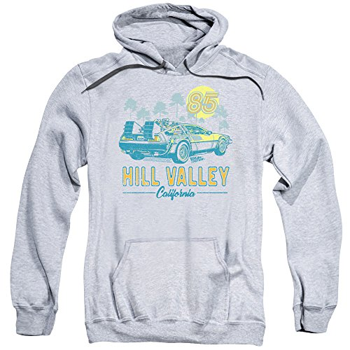 Licensed Back To The Future Hill Valley Athletic Hoodie, Heather Gray, S to 3XL