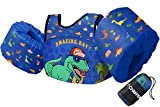 Chriffer Kids Swim Vest for 30-50 Pounds Boys and Girls, Toddler Floats with Shoulder Harness Arm Wings for 2,3,4,5,6,7 Years Old Baby Children Sea Beach Pool (Big Dinosaur)