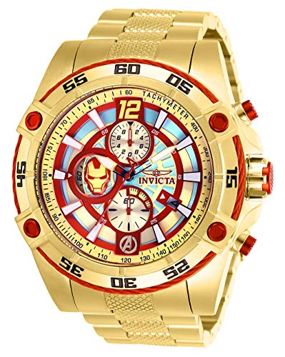 Invicta Marvel Limited Edition 26799 Iron Man quarzo 52 mm cassa oro quadrante rosso/oro orologio da uomo