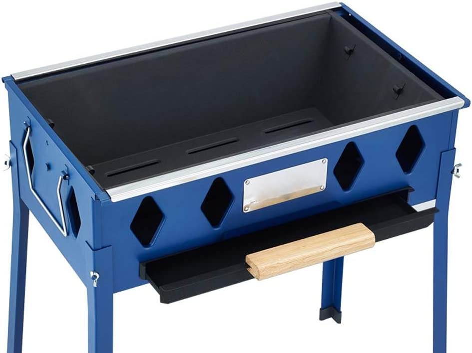 YF Barbecue au Charbon Barbecue Grill Multifonction Grill Rotating épaissie Grande Amovible Outil Barbecue Portable Outils de Barbecue (Color : Blue) Blue