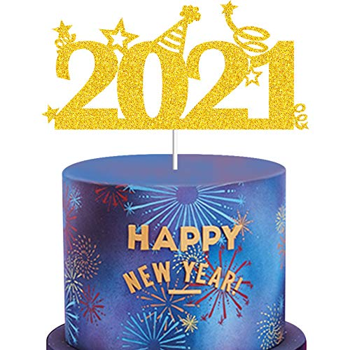 MAGBEA New Year 2021 Cake Topper - Gold Glitter Happy New Year Party Congrats Cake Topper Supplies - Engagement 2021 Graduation Birthday Class of 2021 Graduate Cheers to 2021 Party Decorations