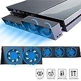 EEEKit Ventilador de enfriamiento para PS4, USB Refrigerador externo 5 Ventilador Turbo Control de temperatura Ventiladores de enfriamiento para Sony Playstation 4 Consola de juegos