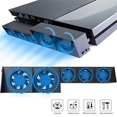 EEEKit Ventilateur de Refroidissement pour PS4, Ventilateur Externe USB 5 Ventilateur Turbo avec contr?Le de la température Ventilateurs de Refroidissement pour Console de Jeu Sony Playstation 4