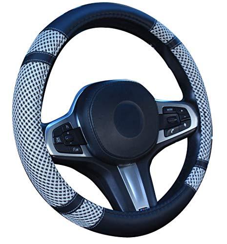 Cubierta del volante Microfibra Cuero Viscosa, Transpirable, Antideslizante, Inodoro, Cálido en invierno Fresco en verano, Universal 38cm (gris)