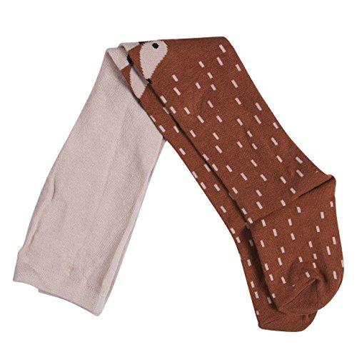 WANGSAURA Baby Mädchen Baumwoll Fuchs Gedruckt Strumpfhosen Warm Krabbelstrumpfhose Socken Leggings Strumpf (M/3-4 Jahre, Braun)