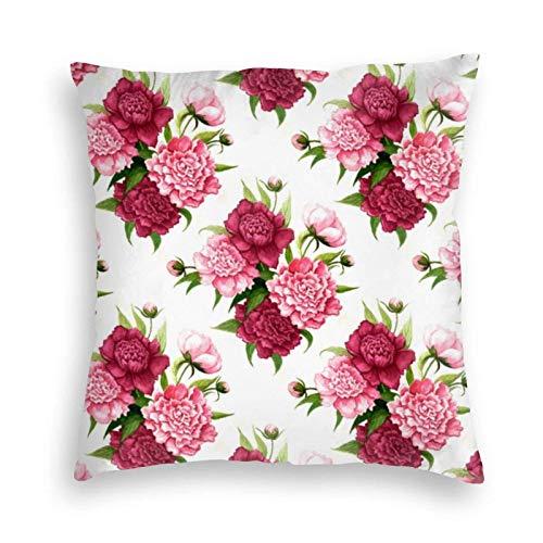 fudin Fundas de cojín cuadradas de terciopelo rosa y borgoña con diseño de peonías, para sofá, dormitorio, coche, con cremallera invisible, 48 x 48 cm