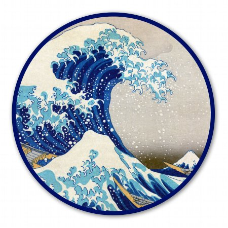AK Wall Art Great Wave Off Kanagawa Circle Vinyl Sticker - Car Phone Helmet - Select Size