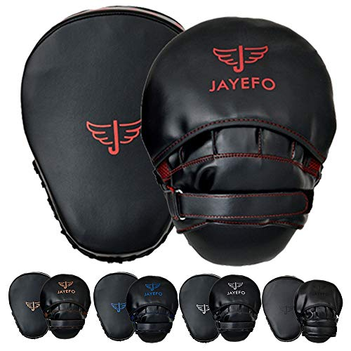 JAYEFO Glorious Punch Mitts Speed Focus Bags Mitts Punching MMA Muay Thai Boxing Pads Target Curved Gloves Training Hand Target for Kids, Youth, Men & Women Kickboxing… (Black/RED)