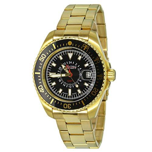 Nautec No Limit–Orologio da polso per uomo al quarzo in acciaio inox XL Deep Sea DS QZ-GMT/GDGDBKBK rivestimento