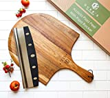 Premium Acacia Pizza Peel (Extra Large) and Rocker Blade Pizza Cutter Set, Pizza Peel 16 inch, Gourmet Wooden Pizza Paddle/Spatula/Board, Size 14' W x16' L, 22' L Overall including handle