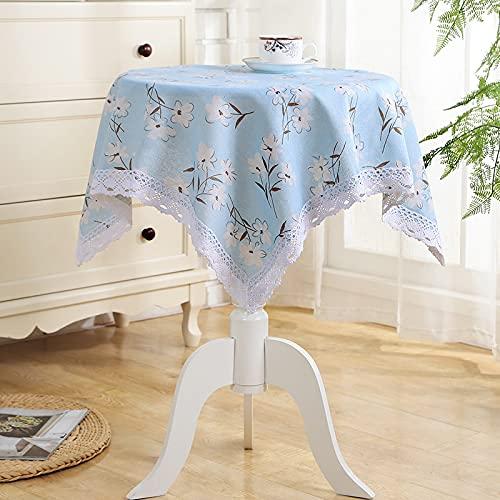 JIALIANG Mantel rectangular de algodón y lino con borla lavable para decoración de mesa de cocina, 125 x 125 cm