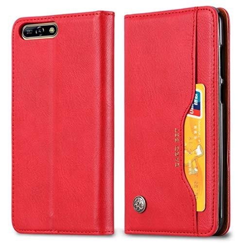 JIANGSHOUJIESPA Funda de Cuero con Textura y Textura de Piel amontonada for Huawei Y6 (2018) / Honor 7A / Enjoy 8e, con Marco de Fotos, Soporte, Ranuras for Tarjetas y Cartera (Color : Red)