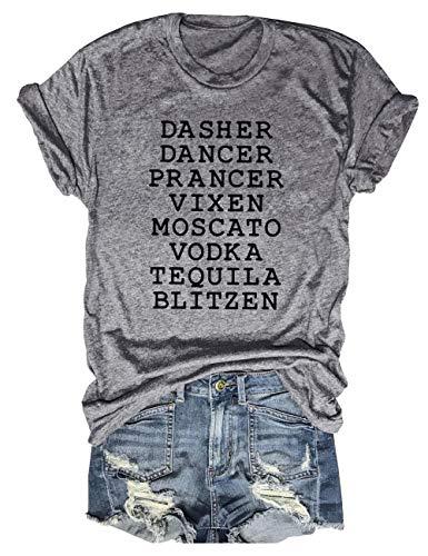 Womens Reindeer Alcohol Christmas Shirts Dasher Dancer Prancer Vixen Moscato Vodka Tequila Blitzen Xmas Graphic Tees Tops (Grey, L)