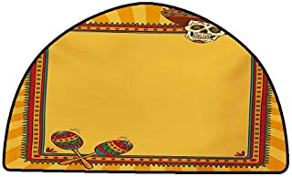 Non-Slip Bath Hotel Mats Fiesta,Frame Pattern with Skull Sombrero and Maracas Mexican Elements Geometric,Marigold Red Green,W31