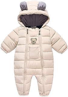 Minizone Baby Kapuze Strampler Winter Outfits Warme Schneeanzug Zwei Reißverschluss Overall Langarm Onesies Jumpsuit Bärenmuster Oberbekleidung Geschenk für Jungen Mädchen 6-24 Monate