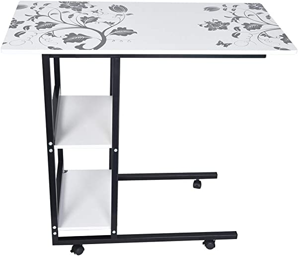 Wearefo Side Table Sofa Couch Table Mobile Computer Table Writing Desk Laptop Desk With Double Layer Storage Office Desk Table Study Table Workstation Removable Sturdy Desk For Home Office
