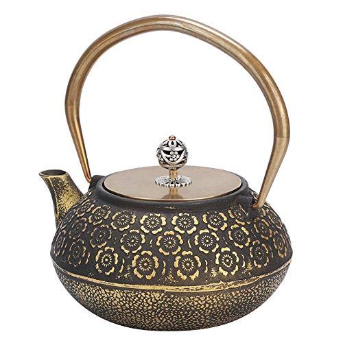 Japanische Gusseisen-Teekanne, 1,2 l Gold-Gusseisen-Teekessel mit Kupfergriff, Retro-Kirschblütenmuster, praktisch und gesund für Familie und Teehaus