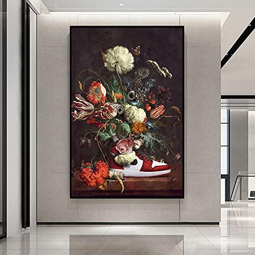 Póster de pintura de flores clásicas Lienzo Arte de la pared Arte abstracto creativo Impresión Decoración de la sala de estar Marco moderno Arte 35x50cm (13.8x19.7in) Marco interno