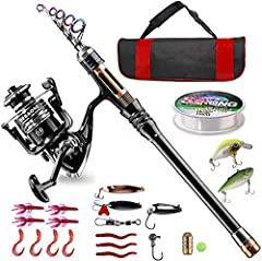 【What You Get】: BlueFire telescopic fishing rod reel full kit is a perfect gift for youths or adults who love fishing! The full kit includes: Fishing Rod + Fishing Reel + Fishing Line + Fishing Lures + Fishing Hooks + Carrier Bag. 【Telescopic Fishing...