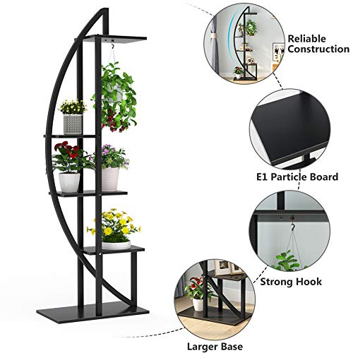Tribesigns 5-Tier Plant Stand Pack of 2, Multi-Purpose Curved Display Shelf Bonsai Flower Plant Stand Rack for Garden, Patio, or Balcony, Indoor and Outdoor Use (Black)