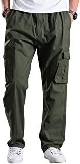 Men's Elastic Waist Lightweight Workwear Pull On Casual Cargo Pants