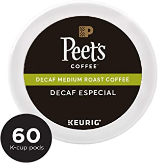 Peet's Coffee Decaf Especial, Medium Roast, 60 Count Single Serve K-Cup Decaffeinated Coffee Pods for Keurig Coffee Maker