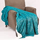 Home Soft Things Embroidery Batik Sherpa Throw Blanket, 50' x 60', Baltic Blue