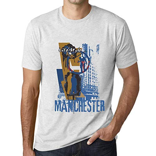 One in the City Hombre Camiseta Vintage T-Shirt Gráfico Manchester Lifestyle Blanco Moteado