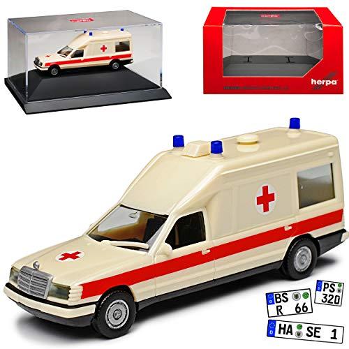 Mercedes-Benz Miesen E-Klasse W124 KTW Transporter Krankenwagen Rettungswagen 1977-1995 mit Sockel und Vitrine H0 1/87 Herpa Modell Auto