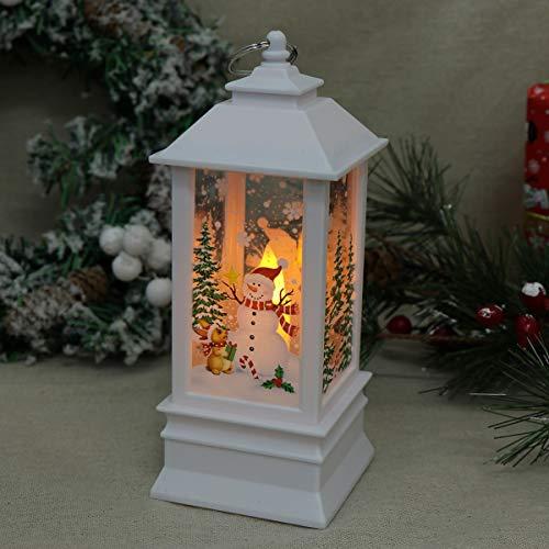 Uonlytech Weihnachtslaternen beleuchtetes Weihnachtsmann-Musternachtlicht dekoratives hängendes Lichtweihnachtsfest-Stützenweiß