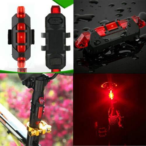 VJK USB wiederaufladbare Fahrradbeleuchtung vorne und hinten, 2 Stück Scooter-Licht, 5 LEDs, 4 Modi, vorne und hinten, Blinklicht, Sicherheitswarnlampe - 8