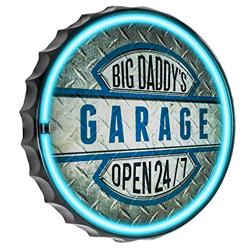 Big Daddy's Garage Open 24/7 LED Neon Rope Sign, LED Light Rope With Neon Like Effect, 12