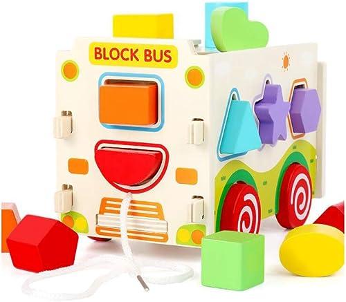 KTYXGKL Kinder P gogisches Spielzeug Form Kognitive Bausteine  us Holz Intelligenz-Box Montiert Demontage Auto Spielzeug, 11,5x15x23cm Lernspielzeug für Kinder