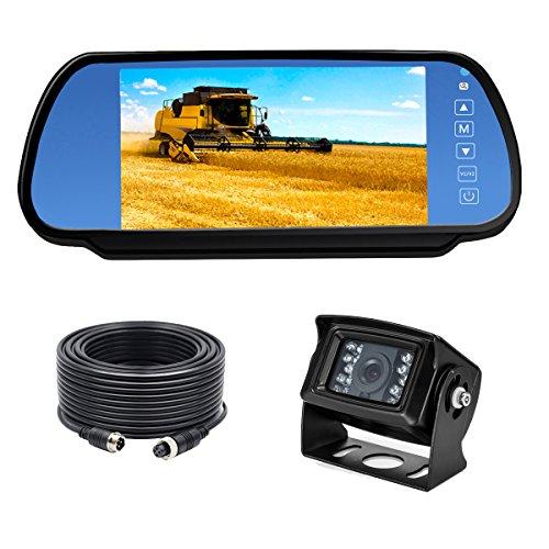 HD 7 Zoll Auto Spiegel Monitor mit 18 IR LED Nachtsicht Wasserdicht Rückfahrkamera 170 Winkel und 20 Meter Verlängerungskabel