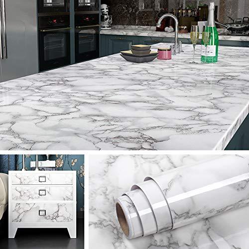 Livelynine 5M X 60 CM Breit Marmor Folie Grau Klebefolie Tisch Möbel Mamorfolie Selbstklebende Folie für Tisch Platte Küchen Arbeitsplatten Küchenwand Holz Küchenarbeitsplatte Folie Muster Wasserfest