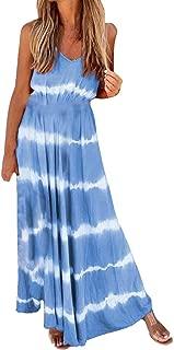 TIANMI Women's Sleeveless Gradual Print Dress O-Neck Casual Loose Long Dress Plus Size Fashion Camisole Dresses