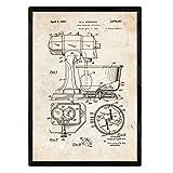 Nacnic Poster con Patente de Batidora Industrial. Lámina con diseño de Patente Antigua en tamaño A3 y con Fondo Vintage
