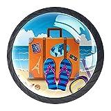 Perillas de manija de puerta para gabinetes y cajones Ilustración de la maleta de viaje con pegatinas coloridas Manijas...
