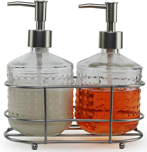 Circleware 32470 Vintage Soap Dispenser Bottle Pumps in Metal Caddy 3-Piece Set of Home Bathroom Accessories, Farmhouse Decor for Essential Oils, Lotions and Liquids, 17.5 oz, Nickel Hobnail