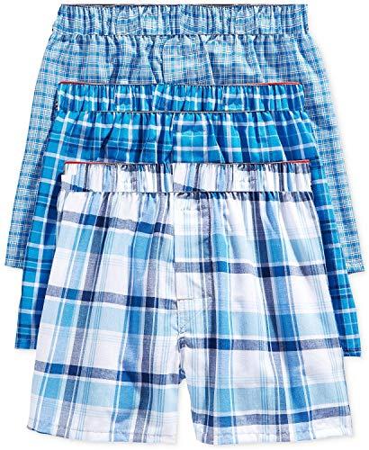 Hanes Big - Calzoncillos de tela escocesa, color azul platino con cintura flexible y cómoda, paquete de 3 - azul - Small