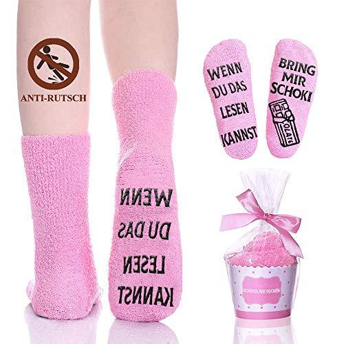 Lustige Socken Geschenke für Frauen, Damen Anti Rutsch Fun Socken mit Motiv Spruch Wenn du das lesen Kannst Bring mir Schokolade Kuschelsocken Witzige Geschenk für Sie Freundin Valentinstag Muttertag