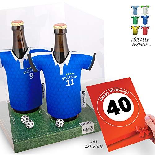 40. Geburtstag | Der Trikotkühler | Das Männergeschenk für Bielefeld-Fans | Langlebige Geschenkidee Ehe-Mann Freund Vater Geburtstag | Bier-Flaschenkühler by Ligakakao