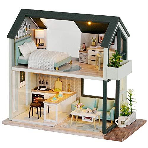 Fsolis Casa de Muñecas en Miniatura de Bricolaje con Mueble, Casa en Miniatura de Madera 3D con Cubierta Antipolvo, Kit de Regalo Creativo de Casas para Muñecas QL01