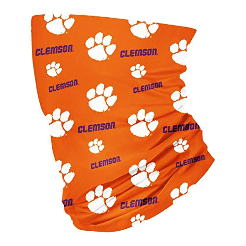 Clemson Tigers unisex, breathable neck gaiter bandana face mask, Orange & White perfect for sport, fishing, ski, jogging, running, cycling, and motorcycle. size (9.5' X 19.5') VLF Collegiate