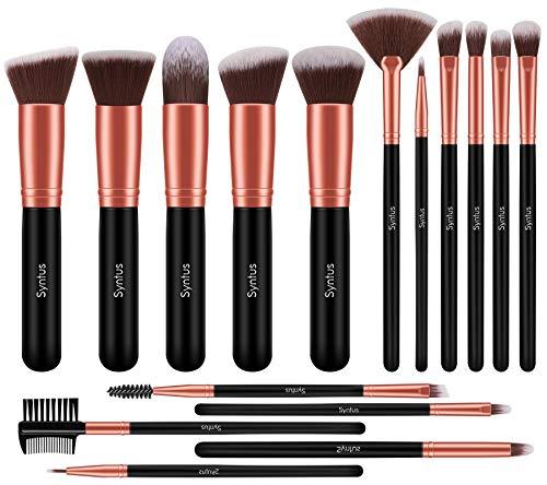 Syntus Makeup Brush Set, Premium Synthetic Foundation Powder Kabuki Blush Concealer Eye Shadow 16 Pcs Makeup Brushes Rose Golden, Large